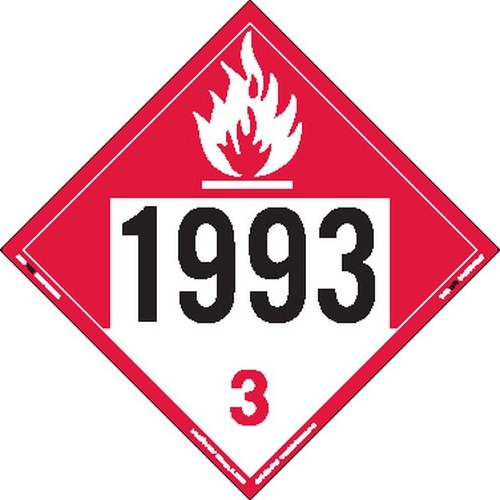 Labelmaster ZVR91993 UN 1993 Combustible Liquid Hazmat Placard, Removable Vinyl (Pack of 25) by Labelmaster®