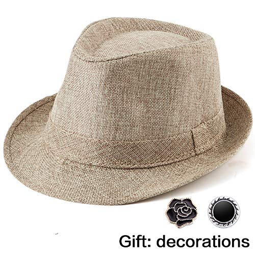 13df47c5b Summer Hats for Men Fedoras - Brown Fedora Hat Men's Sun Hat Linen Fedora  Hat
