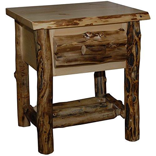 Rustic Aspen Log 1 Drawer Nightstand (Aspen Log Furniture)