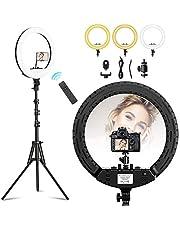 """TECOOL 18"""" Ringlicht Set: 3000K-6500K Dimbaar LED Cirkel Licht met Statief en Telefoonhouder voor YouTube/TikTok/Live streaming/Video-opnamen/Make-up/Selfie"""