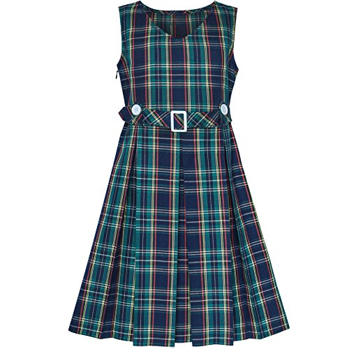 Sunny Fashion Girls Dress Green Tartan Button Back