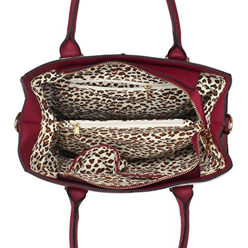 LeahWard Frauen Qualität Faux Leder Tragetaschen Damen Celeb Style Nizza Schulter Handtaschen Für Schule Für Sie Für Urlaub CW153N (Grau/Nude XL Tasche) Burgund/Weiß Mittlere Tasche