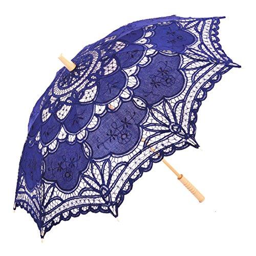 Topwedding Handmade Battenburg Lace Embroidered Wedding Umbrella Parasol, Royal ()