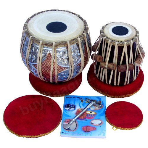 Maharaja Musicals Tabla Drum Set, Concert Quality, 4.5Kg Copper Bayan - Double Color, Sheesham Dayan Tuneable To C#, Padded Bag, Book, Hammer, Cushions & Cover, Indian Hand Drums (PDI-GJ)