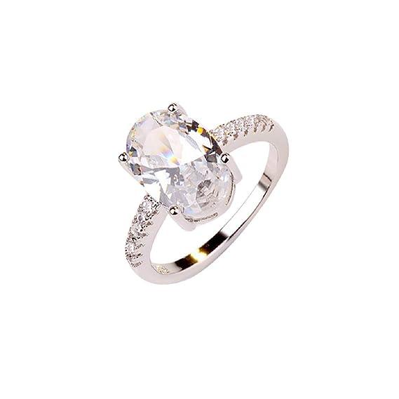 87100c43eb4c Barlingrock Ringen, Exquisito Anillo Ovalado Blanco Circón Anillo de ...