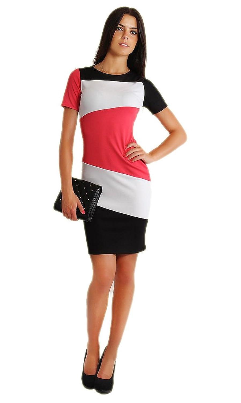 LifeWheel Mode Stitching Bleistift Rock Rundhalsausschnitt dünnes Kleid