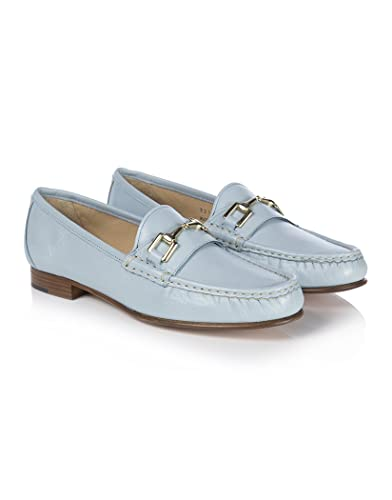 baf5d788c30 Elia B Women s Gold Buckle Detail Nappa Leather Loafer - Light Blue - 39