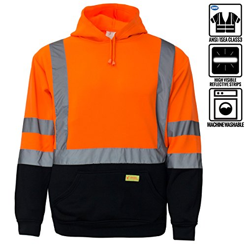 - New York Hi-Viz Workwear H8311 Men's ANSI Class 3 High Visibility Class 3 Sweatshirt, Hooded Pullover, Knit Lining, Black Bottom (Orange, X-Large)