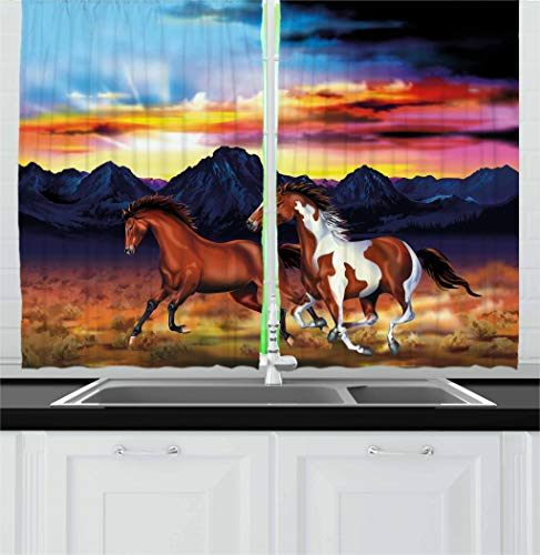 Cheap Ambesonne Western Kitchen Curtains, Running Wild Horses at Sunset Artistic Rustic Landscape Colorful Sky Illustration, Window Drapes 2 Panel Set for Kitchen Cafe, 55 W X 39 L inches, Multicolor