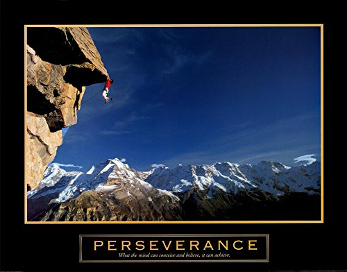 Perseverance Rock Climber Mountain Climbing Scenic Sports Motivational (Sports Motivational Poster)