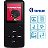 Honlibey Portable MP3 Player with Bluetooth - 8GB MP4 Audio Video Player with FM Radio, eBook, Pedometer, Recording for Sport/Jogging/Running/Yogo, 80hrs Playback (Black)