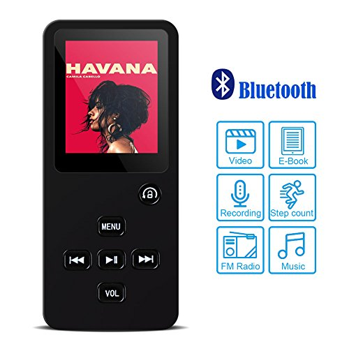 Honlibey Portable MP3 Player with Bluetooth – 8GB MP4 Audio Video Player with FM Radio, eBook, Pedometer, Recording for Sport/Jogging/Running/Yogo, 80hrs Playback (Black)
