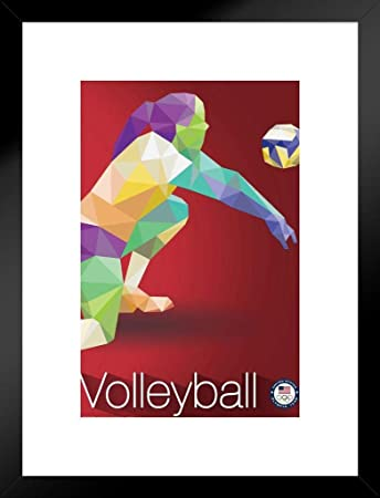 Pyramid America USA Olympic Team Rio 2016 Volleyball Sports Matted Framed Poster 20×26 inch