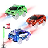 Toys : Tracks Cars Replacement only, Toy Cars for Magic Tracks Glow in The Dark, Racing Car Track Accessories with 5 Flashing LED Lights, Compatible with Most Car Tracks for Kids Boys and Girls(3pack)