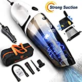 Seven Sparta Car Vacuum, Car Vacuum Cleaner, 5500PA Cyclonic High Powerful Suction Stainless Steel HEPA Double Filtration with 16.4FT(5M) Stronger Power Corded Portable Car Vacuum