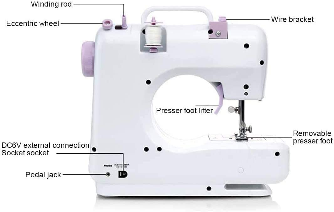 Electric Multifunctional Portable Home Sewing Machine Electric Mini Sewing Machine for Beginner 2 Speed 12-pin US Plug-Fully Automatic Presser Foot Sewing Machine
