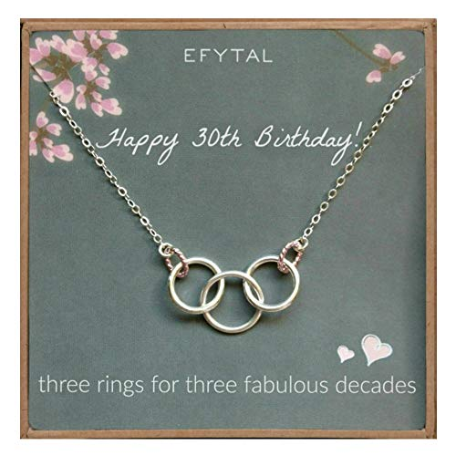 EFYTAL Happy 30th Birthday Gifts for Women Necklace, Sterling Silver 3 Rings Three Decades Necklaces Gift Ideas