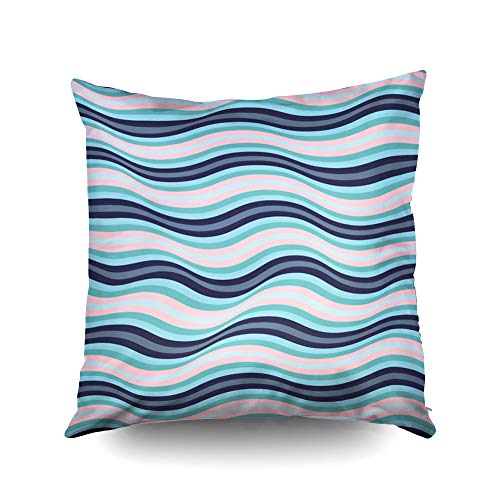 - Capsceoll Christmas Wavy Lines Curves Ripple Pattern Colorful Blue Decorative Throw Pillow Case 16X16Inch,Home Decoration Pillowcase Zippered Cushion Covers with Words for Book Lover Worm Sofa Couch