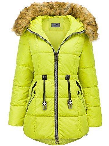 Abrigo largo de invierno de plumón con capucha de pelo largo, efecto parka Amarillo Fluorescente