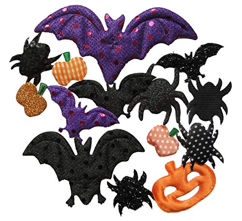 Spider Crafts For Halloween (YYCRAFT Assorted 50pcs Halloween Padded Applique Patches for Sewing,Bat Spider Pumpkin Appliques for Craft Embellishment and Halloween Party)