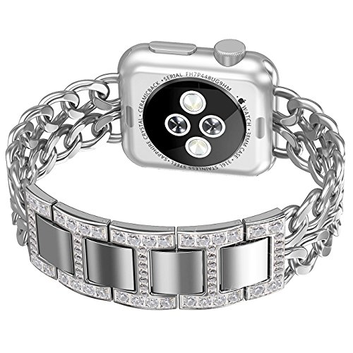 Apple Watch Band, No1seller Premium Stainless Steel Cowboy Style Bracelet Watch Band Strap for Apple Watch Series 1, Series 2 (Diamond Version-Silver, 38mm)