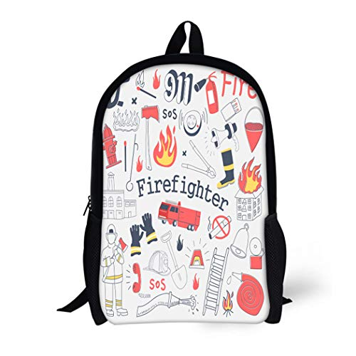 (Pinbeam Backpack Travel Daypack Red Firefighter Freehand Doodle Fireman Extinguisher and Equipment Waterproof School)
