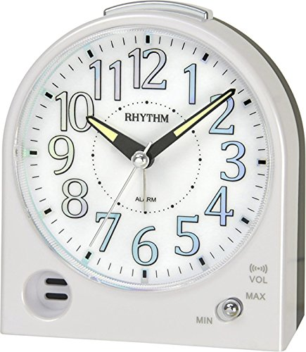 Rhythm Reloj despertador, blanco, manecillas silenciosas (sin tic tac), con alarma, función de posponer y luz: Amazon.es: Hogar