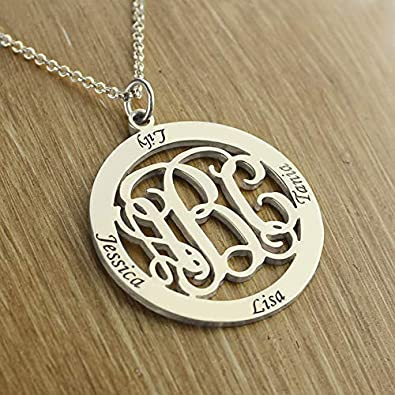 Getname Necklace Personalized Custom Made Monogram Necklace Circle Family Necklace 4 Names Sterling Silver Jewelry