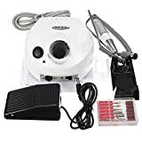 Portable 30000 RPM Professional Electric Nail Drill File Bits Machine Manicure Kit USA Seller (White)