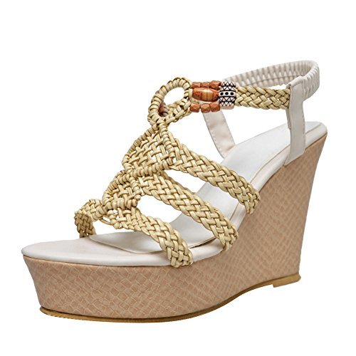 Mee Shoes Women's Sexy Wedge Heel High Heel Sandals White ncnnZdO