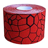 TheraBand Kinesiology Tape, Waterproof Physio Tape for Pain Relief, Muscle & Joint Support, Standard Roll with XactStretch Application Indicators, 2 Inch x 16.4 Foot Roll, Hot Red/Black