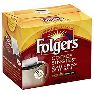 Folgers Classic Medium Roast Coffee Singles Serve Bags, 19 Count (Pack of 6)