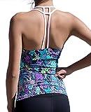 UDIY Womens Floral Pattern Tank Top Sports Shirt Slim Fit Active Vest