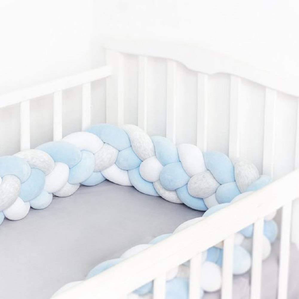 4 Strands,Widening)Gray+White 157 inch Baby Crib Bumper Chunky Knit Braided Baby Bedding Sheets Plush Nursery Cradle Decor Newborn Gift Pillow Cushion Junior Bed Sleep Bumper