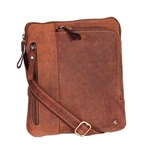 Vera Pelle Corpo Croce Organizzatore Spalla iPad Tavoletta PC Borse HOL64 Marrone Chiaro Venta Barata TrTwJp
