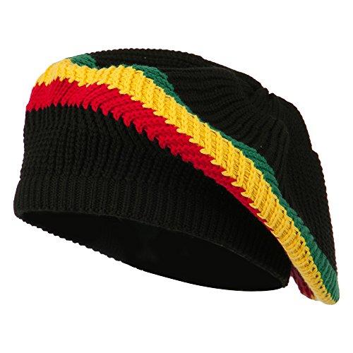 e4Hats.com Cotton Rasta Tam Beret - Black RGY OSFM