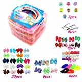 Accessories Girls Best Deals - 3 Layer Girls Hair Accessories Gift Box with Lot of Hair clips elastic hair tie candy clips Hair Bows alligator clips
