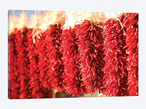 Downtown Santa Fe New Mexico - Chili Pepper Ristras Downtown Santa Fe New Mexico USA - Canvas Wall Art Gallery Wrapped 18