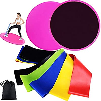Resistance Bands Loop and Core Sliders Exercise, Exercise Elastic Bands (Set of 5) and Gliding Discs(Set of 2), Workout Fitness Equipment for Home, Pilates, Yoga, Rehab, Sliders for Strengthen