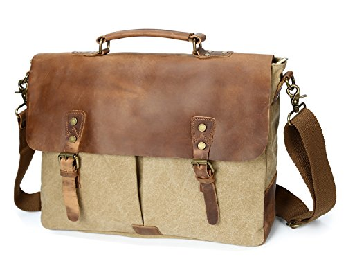 Bag Hombro Crossbody De Laptop Canvas Horseskin Retro Beige Loco Bolsa HXTO5
