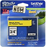 Brother Tape, Black on Yellow, 18mm (TZe641) - Retail Packaging