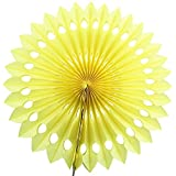 Lightingsky 10 Pcs Tissue Hanging Paper Party Fans for Baby Shower Birthday Wedding Party Decoration (10 inch, Yellow)