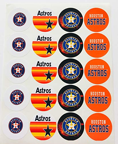 Set of 20 Houston Astros Sticker Phone Small Mini Decal Logo Birthday Parties ()