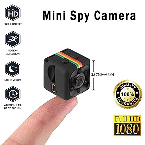 SECURIUS Mini Spy Camera, Portable Nanny/Pet Covert Security Cam for Home and Office (Black)