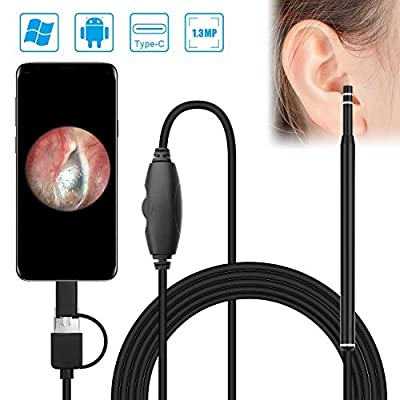 USB Otoscope, Myriann Ear Clean Endoscope 1.3MP Digital Ear Scope Inspection Camera with 6 LEDs, Earwax Cleaning Tool for Mirco USB & USB-C Android Phone Tablet, Windows & Macbook OS Computer - 6.56ft