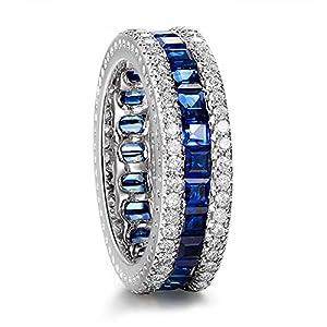 Junxin Jewelry 28 sapphire +50 White Cz 7.3MM White Gold Wedding Ring