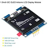 MakerHawk I2C OLED Display Module 1.5inch OLED Module Arduino LCD Display SSD1327 Driver Chip, 128x128 Pixels, 16-bit Grey Level with I2C Interface,DC 3.3V/ 5V for Arduino…