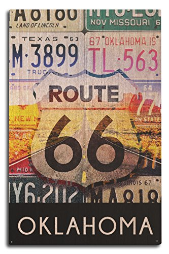 Oklahoma - Route 66 License Plates (10x15 Wood Wall Sign, Wall Decor Ready to Hang)