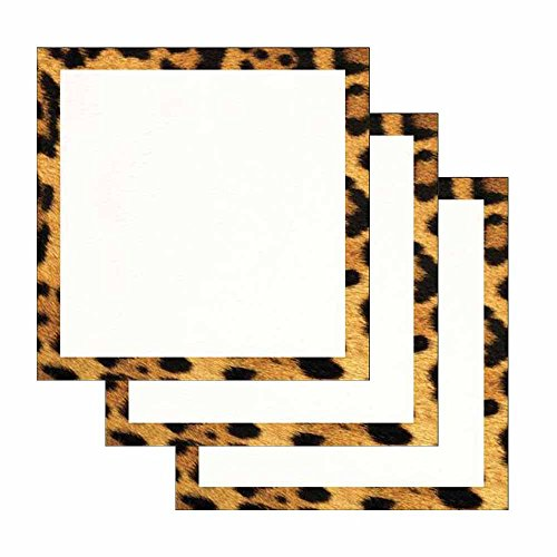 (Leopard Print Border Sticky Notes - Set of 3 - Wildlife Animal Theme Design - Stationery Gift - Paper Memo Pad - Office and School Supplies )