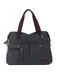 Eshow Women's Canvas bag Top Handle Totes Shoulder Bag female Zippered Tote Cross Body handbag Messenger Bag daypack purse